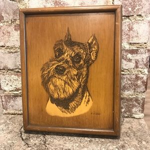 Vintage Engraved Wood Schnauzer Dog Portrait